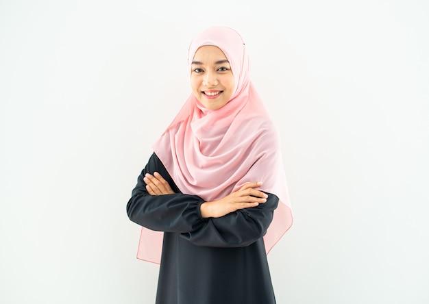 Portrait, jeune, musulman, girl, sourire