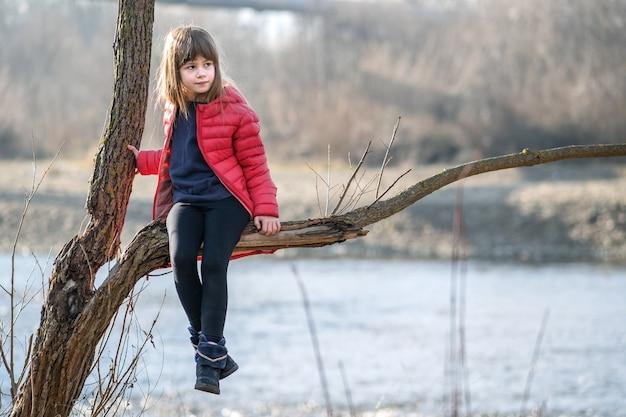 Portrait d'une jolie fille enfant assise sur une branche d'arbre à l'automne à l'extérieur