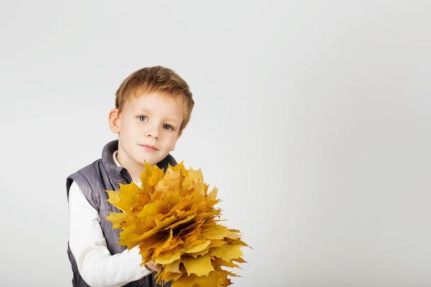 Portrait de joyeux joyeux beau petit garçon avec feuillage d'automne