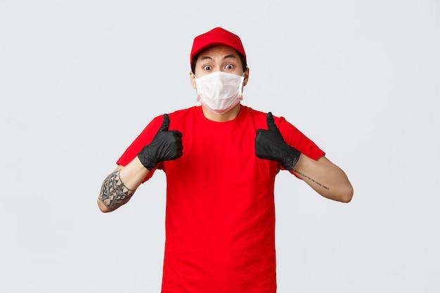 Portrait de livreur avec masque facial