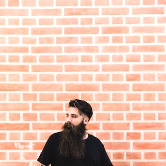 Portrait, long, barbu, homme, devant, mur brique