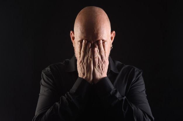 Portrait d'une main d'homme couvre les yeux sur fond noir