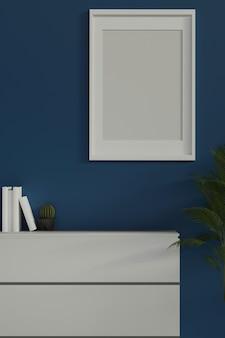 Portrait moderne intérieur maison mur bleu cadre blanc affiche maquette tiroirs blancs et espace de copie