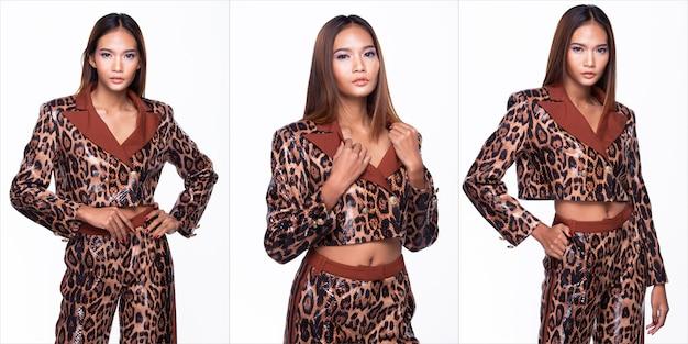 Portrait de la moitié du corps de la jeune femme asiatique, la haute couture de la peau bronzée porte une robe à motif de peau de serpent. studio éclairage fond blanc isolé, concept de pack de groupe de collage