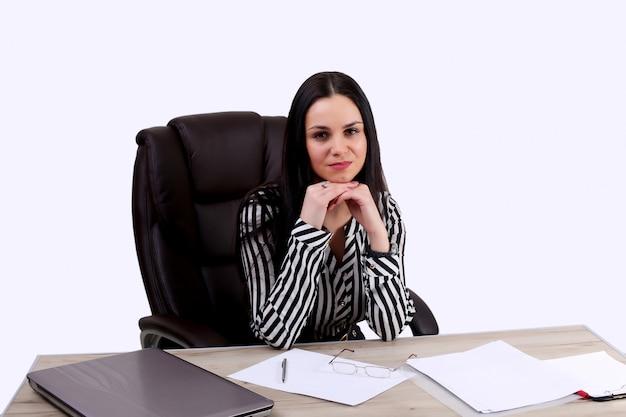 Portrait, occupé, affaires, femme, courant