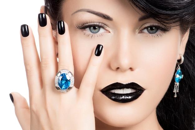 Portrait des ongles, des lèvres et des yeux de femme glamour peints en noir