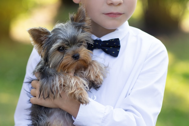 Portrait d'un petit garçon avec un chiot