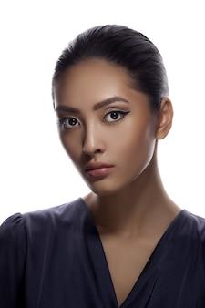 Portrait de plan rapproché de visage de beauté asiatique de femme