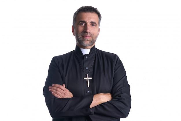 Portrait de prêtre aux armes croisées senior