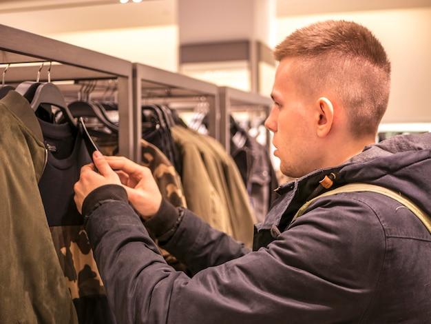 Portrait, ramassage, vêtements, magasin