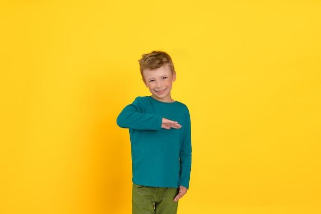 Portrait en studio d'un garçon heureux tenant la main au niveau de la poitrine, fond de studio jaune.