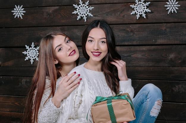 Portrait de style de vie intérieur de deux jolies jeunes femmes drôles amis câlins souriant