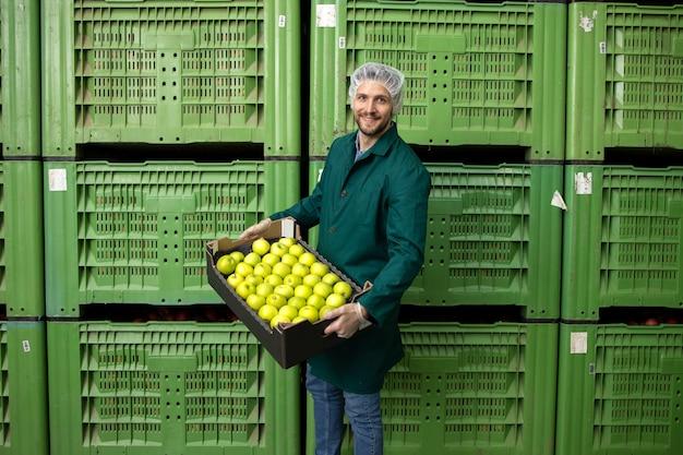 Portrait de travailleur tenant une caisse pleine de pommes vertes dans l'entrepôt de l'usine d'aliments biologiques.