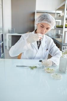 Portrait vertical de jeune femme scientifique effectuant des expériences avec des échantillons de plantes tout en travaillant sur la recherche en laboratoire de biotechnologie, copy space