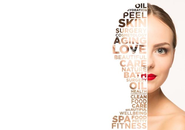 Portrait de visage de femme de beauté beau modèle féminin avec une peau parfaitement propre isolée sur blanc
