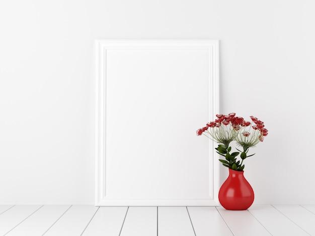 Poster maquette avec des fleurs dans un vase rouge