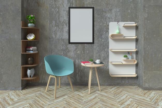 Postes de travail modernes et murs en béton, rendu 3d