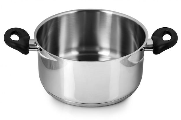 Le pot en acier inoxydable sans couvercle. isolé sur fond blanc