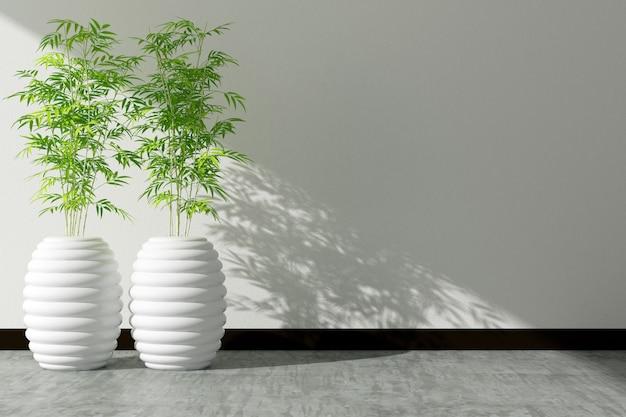 Pot d'arbre et intérieur mur blanc décoré