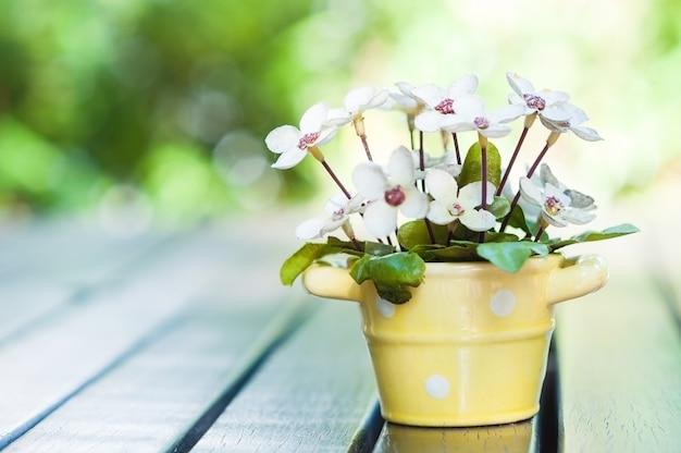 Pot de belle décoration artificielle de fleurs sur la table pour carte de voeux