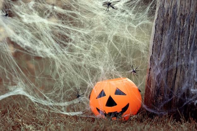 Pot de bonbons citrouille d'halloween avec un sourire effrayant sur l'herbe dans la nature en toile d'araignée