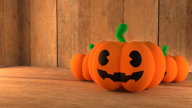 Pot citrouille sur fond de bois pour halloween