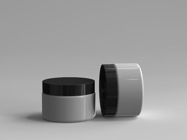 Pot à cosmétiques rendu 3d sans étiquette