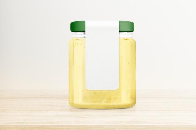 Pot de gelée de citron sur table en bois