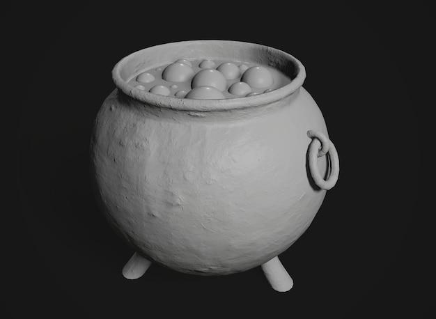 Pot magique avec potion sur le fond