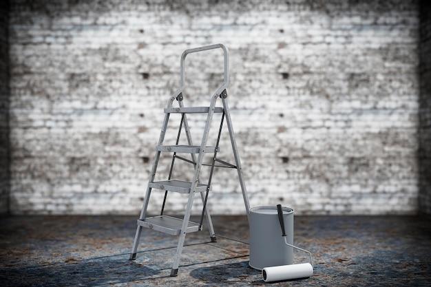 Pot de peinture avec brosse à rouleau et échelle sur un fond grunge