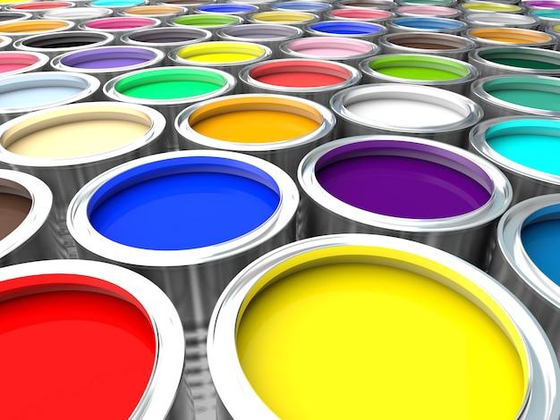 Pot de peinture coloré