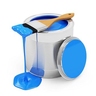 Pot de peinture ouvert avec pinceau