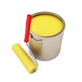 Pot de peinture avec rouleau isolé sur fond blanc