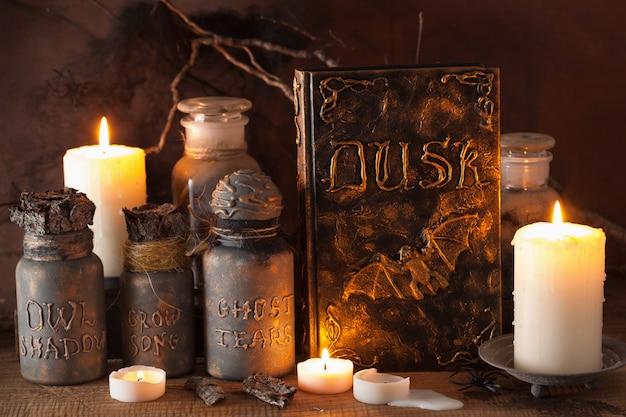Pot de sorcière apothicaire potions magiques livre décoration halloween