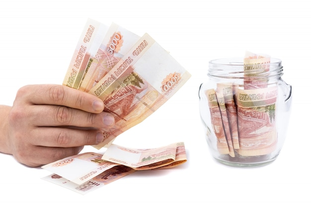 Pot en verre avec de l'argent