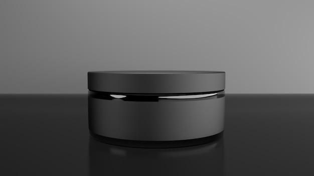 Pot en verre noir pour la crème. rendu 3d
