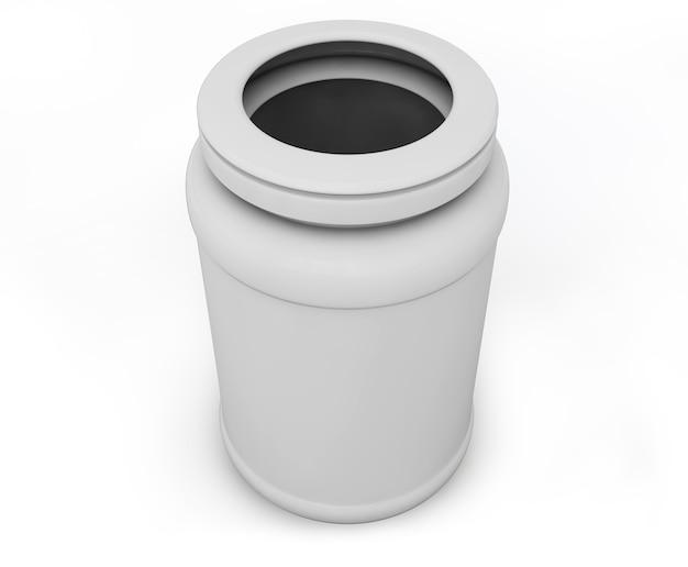 Pot vierge blanc pour tablettes avec ombre. illustration 3d haute résolution