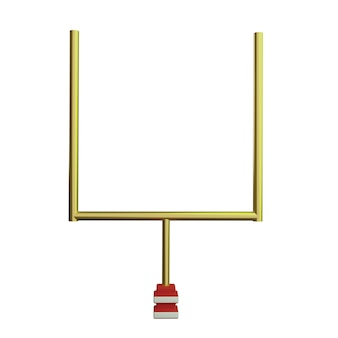 Poteau de but de football américain 3d dans le fond blanc