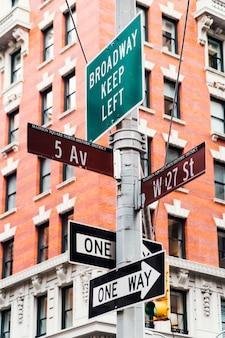 Poteaux indicateurs sur le pilier de la rue