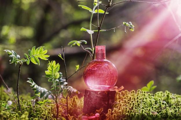Potion magique rose sur bouteille en forêt