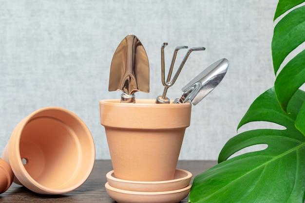 Pots en céramique vides et petits outils de jardinage à côté des feuilles de monstera pour la conception de passe-temps ou de jardinage