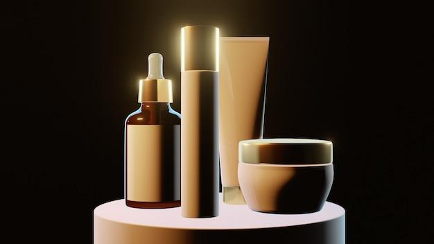 Pots cosmétiques avec inserts en or sur fond noir, bannière, maquette. photo de haute qualité