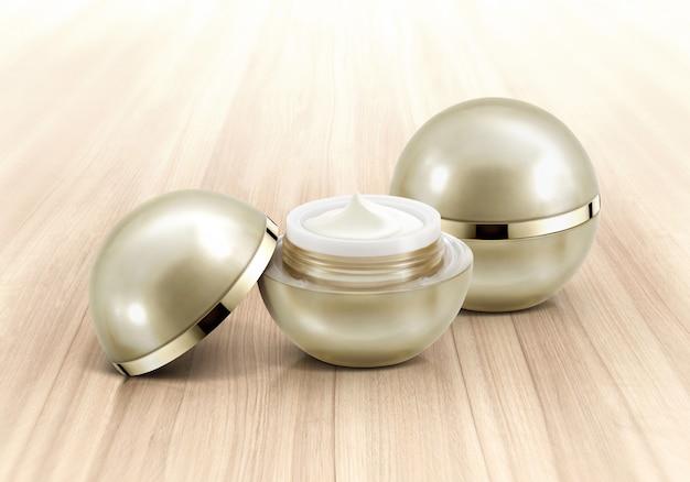 Pots cosmétiques sphère dorée