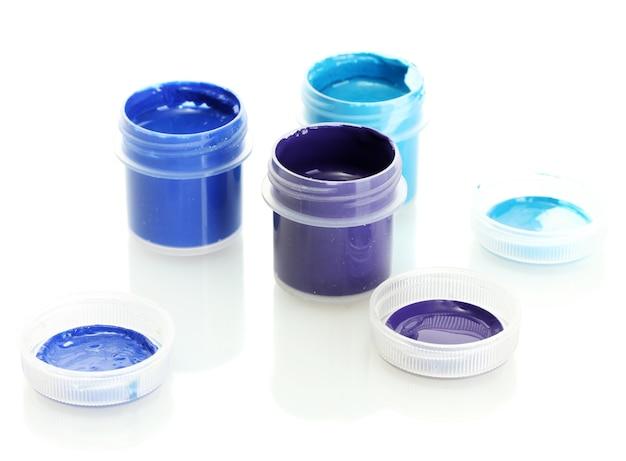 Pots avec gouache multicolore isolés
