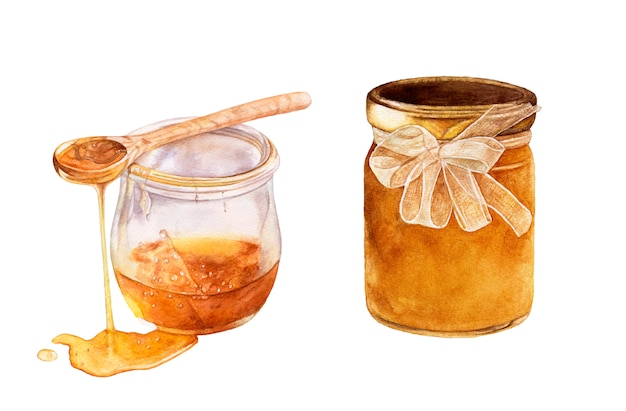 Pots de miel en verre aquarelle isolés cuillère en bois avec du miel.
