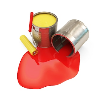 Pots de peinture avec rouleau isolé sur fond blanc