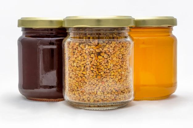 Pots de pollen et de miel