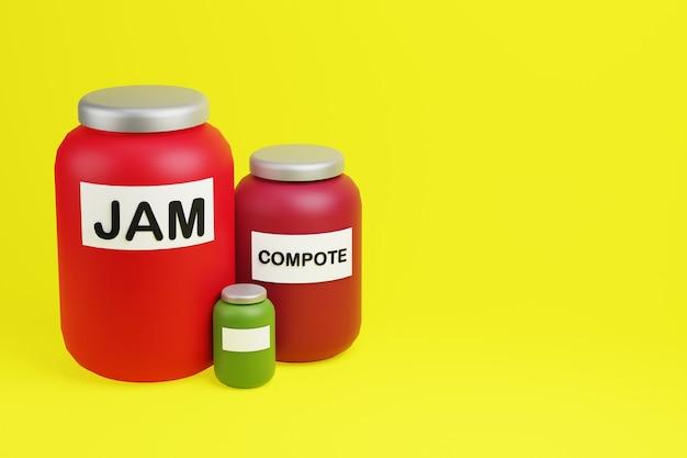 Pots rouges en verre de confiture et d'illustration 3d de compote