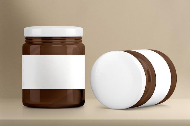 Pots en verre à tartiner au chocolat, emballage de produits alimentaires avec espace design
