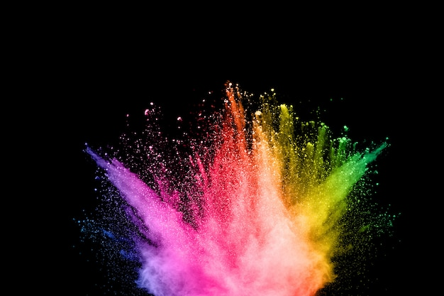 Poudre abstraite éclaboussée de fond. explosion de poudre colorée sur fond blanc.